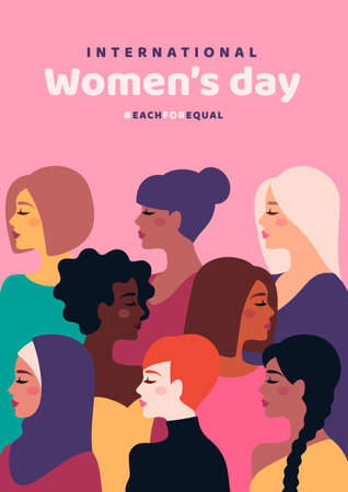 Happy International Womens Day. Vector illustration. Woman different cultures. Freedom, independence, equality struggle poster template design. Girl nationalities, faces profile various hair 矢量图像