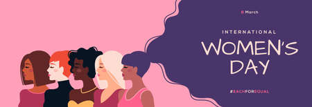 International Womens Day horizontal banner. Vector illustration. Woman of different nationalities. Struggle for freedom, equality and independence concept, 8 March. Female diverse faces