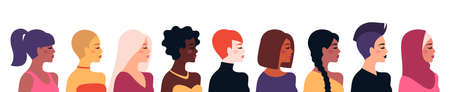 Female diverse faces, different ethnicity and hairstyle. Vector illustration, banner or poster. Woman empowerment movement. Happy International Womens day. Indian, african girls, muslim in hijab 矢量图像