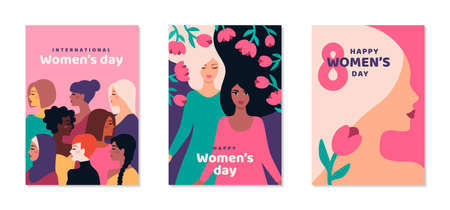 International Womens day posters set. Background with different woman face and flowers. 8 March card, flyer, invitation or brochure cover template for empowerment movement. Vector illustration. 矢量图像