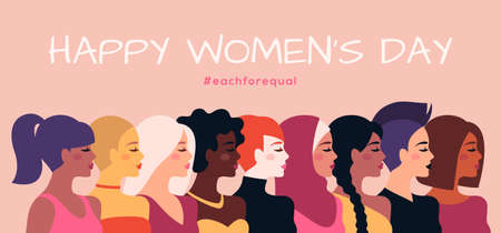 Female diverse faces profile, different ethnicity and hairstyle. Vector illustration. Woman empowerment movement banner or poster. Happy International Womens day, 8 March graphic icons design 矢量图像