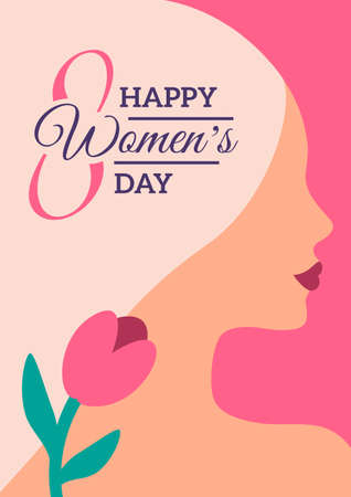 International Womens day minimal poster. Background with blonde woman face and flower. Greeting card, flyer, invitation or brochure cover template layout for 8 March. Vector illustration.