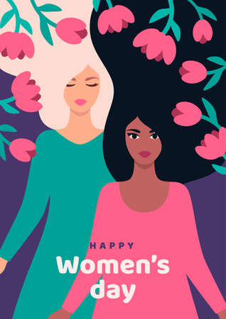 8 march, International Womens Day. Vector illustration. Template for card, poster, flyer and brochure cover. Woman different nationalities with long hair and flowers frame. Place for text