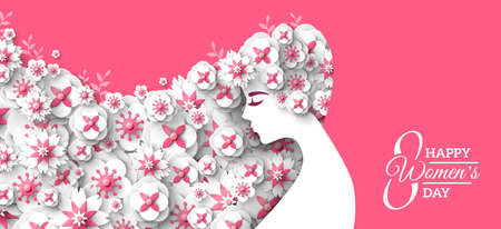 Fashion woman with long hair and floral pattern. Paper cut 3d spring flowers hairstyle. Vector Illustration. 8 March, Happy International Womens Day poster, greeting card or banner. Place for text 矢量图像