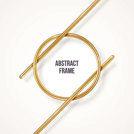 Abstract golden frame isolated on white background. Vector illustration. Circle border and gold diagonal lines. Place for text or quote. 矢量图像
