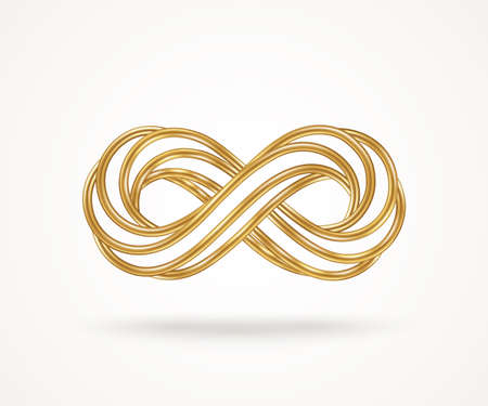 Infinity gold symbol isolated on white background. Vector illustration. Endless sign, 3d golden loop, 8 icon creative concept design template. Many connected metallic wires.