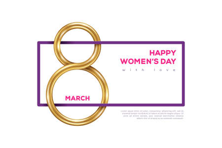 March 8 symbol with frame and place for text, glittering golden eight on white background. International Women's day poster. Vector illustration for greeting card, flyer, voucher or brochure template