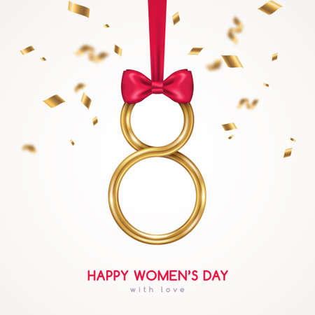 March 8 symbol, glittering golden 3d eight with red ribbon, falling confetti and bow. International Women's day poster. Vector illustration for greeting card, flyer, voucher or brochure template