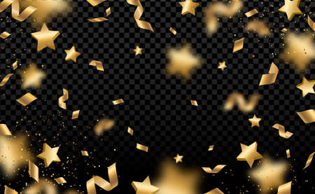 Shiny gold confetti and pieces of serpentine isolated on black background. Bright festive overlay effect with yellow tinsels. Vector illustration. Paper foil stars falling down