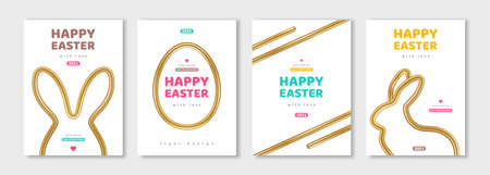 Posters set with abstract bunny and egg silhouettes, shiny gold frames and borders. Vector illustration. Holiday banner, flyer or greeting voucher, brochure design template layout. Place for text.