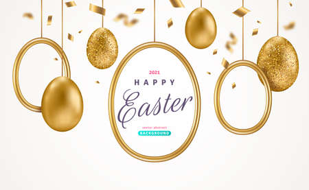 Easter card with realistic gold eggs, round frame and confetti on white background. Vector illustration. Poster, holiday banner, flyer or greeting voucher design template layout. Place for text. 矢量图像