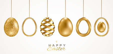 Set of realistic 3d golden Easter eggs isolated on white background. Vector illustration. Poster, holiday banner, flyer or greeting voucher, brochures design template layout. Place for text. 矢量图像