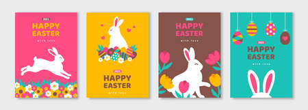 Posters set with white bunny silhouettes, spring flowers and colored eggs. Vector flat illustration. Holiday banner, flyer or greeting voucher, brochure design template layout. Place for text.