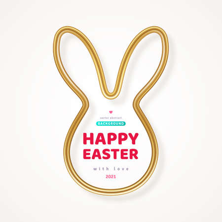 Happy Easter greeting card with shining gold bunny frame. Vector illustration. Poster, holiday brochure, flyer or voucher design template layout. Place for text. Abstract rabbit head with ears.