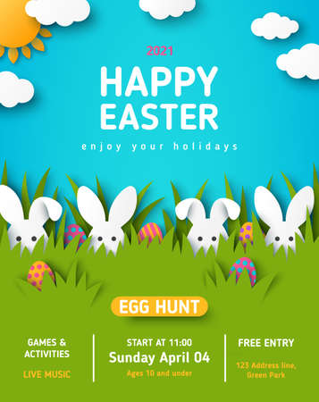 Easter egg hunt announcing poster with white paper cut bunny rabbits in spring lawn grass, hidden colored eggs, party flyer, banner or invitation template layout. Vector illustration. Place for text 矢量图像