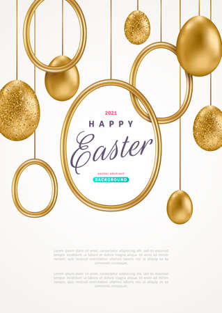 Easter card with realistic gold eggs and round frame on white background. Vector illustration. Poster, holiday banner, flyer or greeting voucher design template layout. Place for your text.