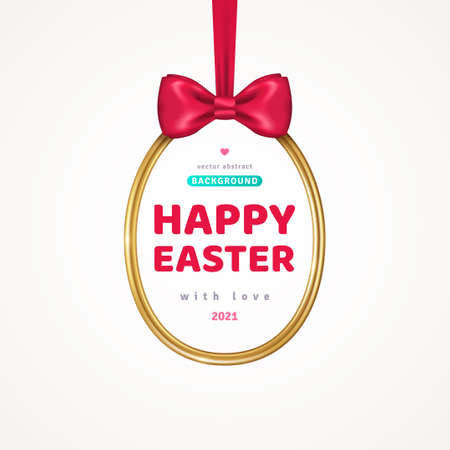 Happy Easter Greeting Card with Shining Gold Egg Frame and Red Silk Ribbon with Bow. Vector illustration. Poster, holiday brochure, flyer or voucher design template layout. Place for text. 矢量图像