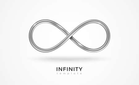 Infinity silver symbol isolated on white background. Vector illustration. Endless sign, 3d metal loop, 8 icon creative concept design template.