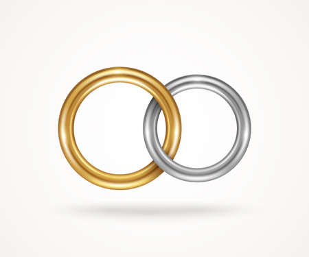Two connected engagement rings isolated on white background. Vector illustration. Silver or titanium and gold jewelry icon for married couple, wedding symbol for save the date invitation card.