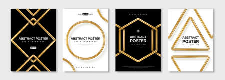 Set of minimal design posters, frame template layout with 3d gold metal shapes, border elements, modern art deco style. Vector illustration. Brochure cover concept, voucher typography template.
