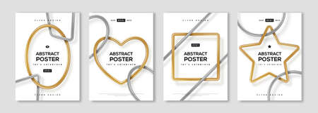 Set of minimal design posters, frame template layout with 3d gold and silver metal shapes, border elements. Vector illustration. Place for text. Brochure cover concept, voucher typography template.