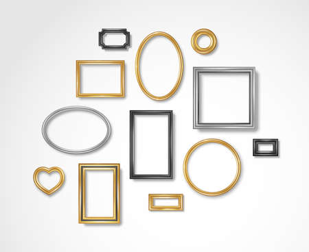 Set of vintage 3d photo frames on white wall. Vector illustration. Realistic gold, silver and black picture boxes, circle, oval and square shapes. Empty blank mockup template, home interior decor
