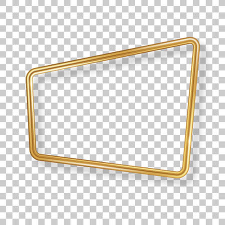 Retro 3d golden frame isolated on transparent background. Vector illustration. Vintage square label, promotional badge, gold wire rectangle speech bubbles for motivational quotes. 矢量图像