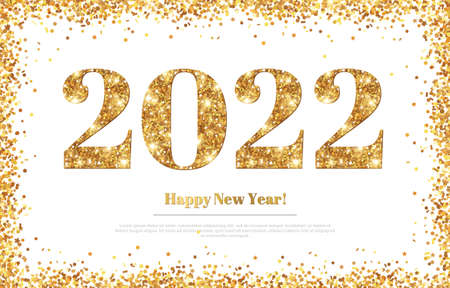 Happy New Year 2022 Greeting Card with Gold Numbers and Confetti Frame on White Background. Vector Illustration. Merry Christmas Flyer or Poster Design