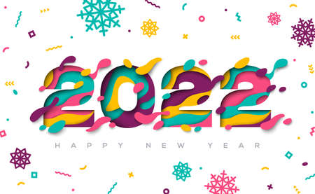 Happy New Year 2022 typography design with abstract paper cut shapes and confetti with snowflakes. Vector illustration. 矢量图像