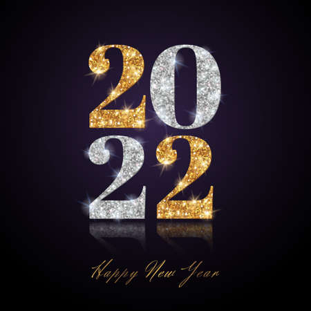 Happy New Year 2022 Greeting Card with Gold and Silver Numbers on Black Background with Glossy Reflection. Vector Illustration. Merry Christmas Flyer or Poster Design