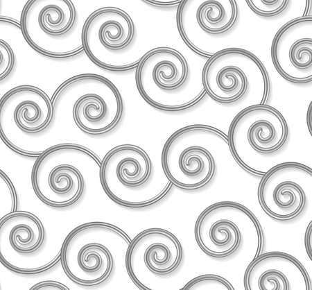 Curly seamless pattern, 3d silver wavy lines on white. Vector illustration. Gray metal curl elegant background. Fashion swirl shape texture backdrop. 矢量图像