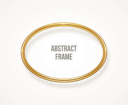 Golden oval frame isolated on white background. Vector illustration. Gold 3d round label, modern circle badge, bronze metallic wire speech bubbles for motivational quotes, luxury realistic border