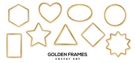 Set of golden 3d shiny glowing geometric frames with shadows isolated on white background. Vector illustration. Gold luxury realistic borders, labels, modern badges, bronze metal wire speech bubbles 矢量图像