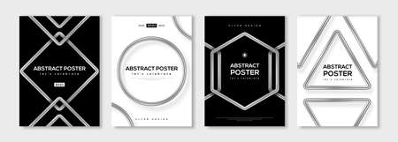 Set of minimal design posters, frame template layout with 3d silver metal shapes, circle, hexagon, triangle border elements, modern art deco style. Vector illustration. Brochure cover concept.