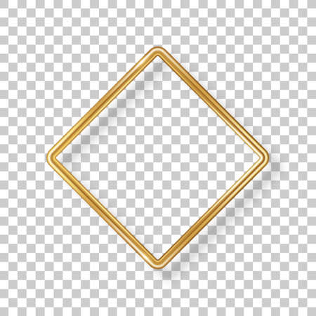 Rhombus luxury 3d gold frame isolated on transparent background. Vector illustration. Wedding label, square badge, bronze metallic wire speech bubble for motivational quotes, luxury realistic border 矢量图像