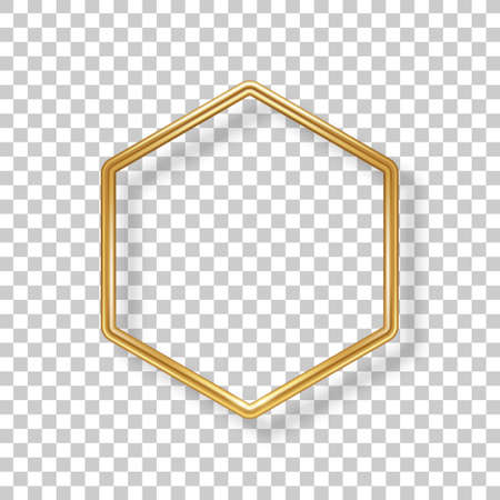 Hexagon luxury 3d gold frame isolated on transparent background. Vector illustration. Wedding label, modern badge, metallic wire speech bubble for motivational quotes, luxury realistic border