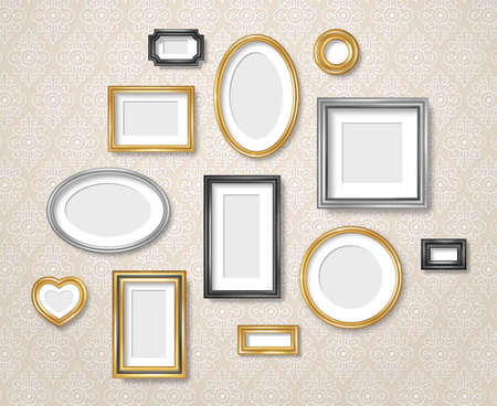 Set of vintage 3d photo frames on retro wallpaper. Vector illustration. Realistic gold, silver and black picture box, circle, oval and square shapes. Empty blank mockup template, home interior decor 矢量图像