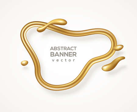 Abstract liquid form, gold glitter 3d frame. Vector illustration. Fluid line banner with flowing golden shapes isolated on white. Modern badge, metal wire label, luxury realistic border template 矢量图像