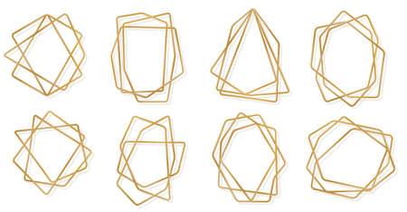Set of golden 3d geometric polygonal frames isolated on white background. Thin line art deco label for wedding invitation. Vector illustration. Gold luxury crystal borders, brass metal wire badges