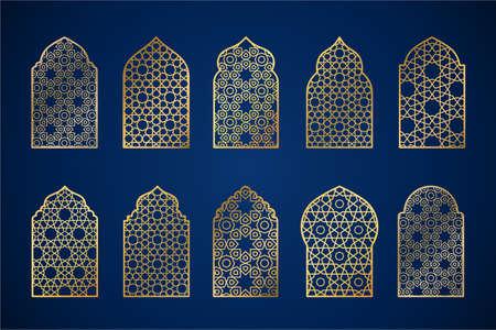 Set of gold ornate arab windows silhouettes. Vector illustration. Ramadan Kareem design element, invitation or card template. Arabic traditional architecture, beautiful arabesque motif pattern.