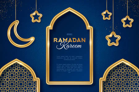Ramadan Kareem arabian night concept banner with gold 3d frame, arab window on blue background with beautiful arabesque pattern. Vector illustration. Hanging crescent and stars. Place for text