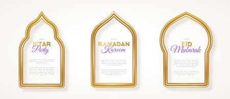Set of gold 3d arab windows frame silhouettes. Vector illustration. Ramadan Kareem labels for invitation or card template, luxury realistic border. Arabic traditional architecture. Place for text.