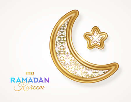 Ramadan Kareem islamic crescent moon and 3d golden star silhouette with arabic pattern isolated on white background. Vector illustration. Place for text