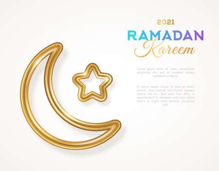 Ramadan Kareem concept banner template. Islamic 3d gold crescent and star silhouette. Vector illustration. Place for text. Selamat Hari Raya Aidilfitri moon