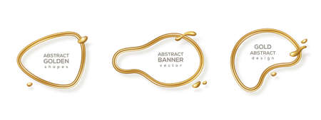 Abstract liquid forms set, gold glitter 3d frame. Vector illustration. Fluid organic banner with flowing golden shapes. Modern badge, metal wire label, luxury realistic border template 矢量图像