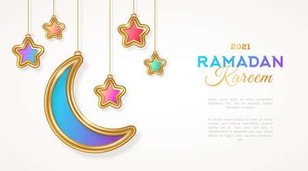 Ramadan Kareem islamic crescent and star hanging on white background. Vector illustration. Place for text. Selamat Hari Raya Aidilfitri 3d gold moon