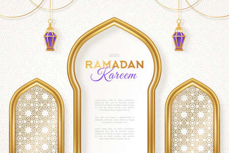 Ramadan Kareem concept banner with gold 3d frame, arab window on white background with beautiful arabesque motif pattern. Vector illustration. Hanging golden arabian traditional lanterns.