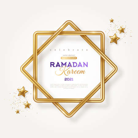 Ramadan Kareem concept poster, typography template. Eight point star shape frame, 3d gold stars and confetti on light background. Vector illustration. Eight-pointed Rub el hizb islamic symbol.