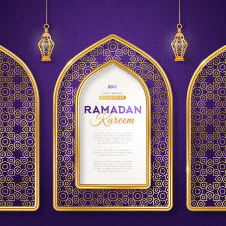 Ramadan Kareem concept poster, gold 3d frame arab window and hanging lanterns lamp on night sky background, beautiful arabesque pattern. Vector illustration. Place for text 矢量图像