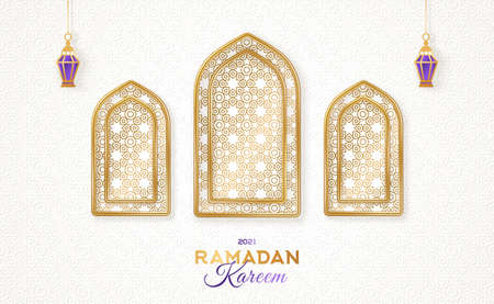 Ramadan Kareem concept poster or banner, gold 3d frame arab windows with beautiful arabesque pattern and hanging lanterns lamp on white background. Vector illustration. Place for your text